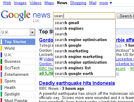google news search suggestion function